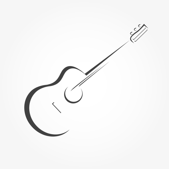 minimslist black and white guitar music logo