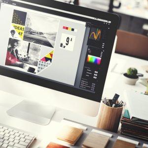 A logo designer's computer workstation.
