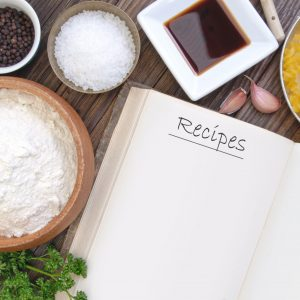 open recipe book on table