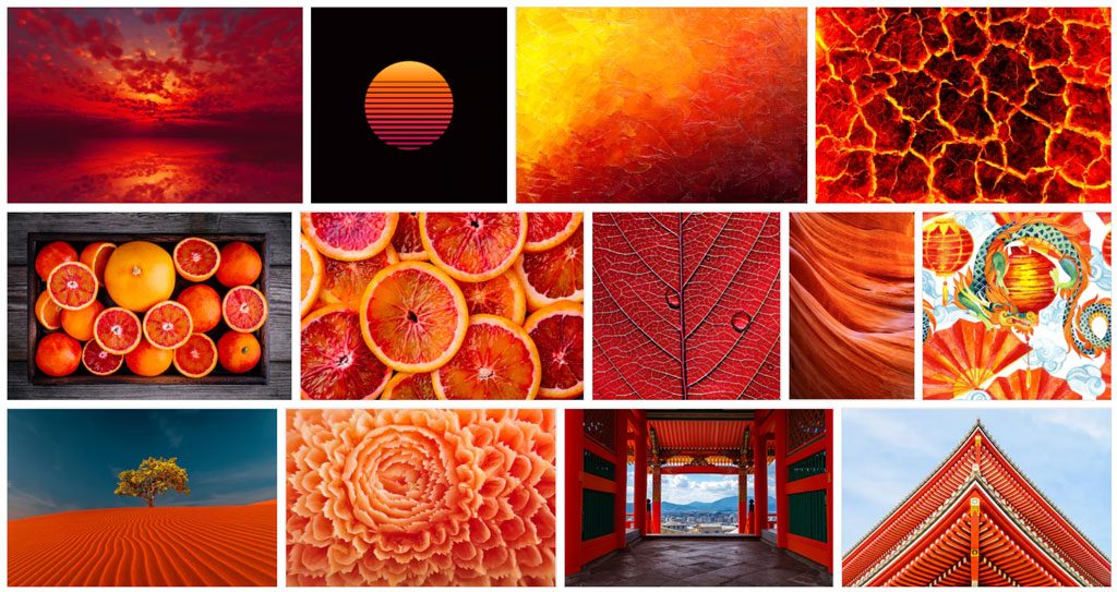 Various images depicting shades of oragne