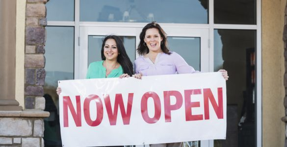 """""""Now Open"""" vinyl banner"""
