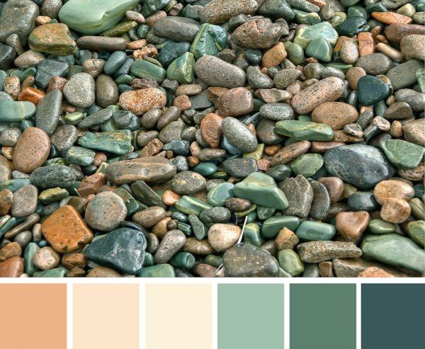 Image de galets et une palette de couleurs terre.