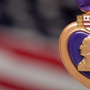 close-up image of a Purple Heart