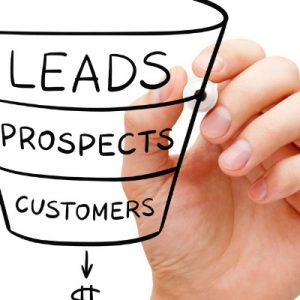 Sales funnel business concept drawing