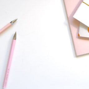 pink pens and pink custom stationery