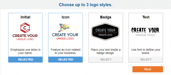Examples of initial, icon, badge, and text logo styles.