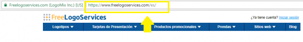Arrow pointing to Freelogoservices URL in spanish